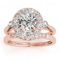 Circle Halo Diamond Bridal Set Ring & Band 14k Rose Gold 0.60ct