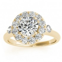 Circle Halo Diamond Bridal Set Ring & Band 14k Yellow Gold 0.60ct