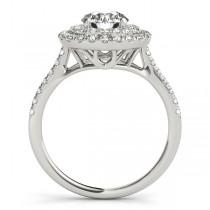Double Halo Round Diamond Engagement Ring 14k White Gold (1.38ct)