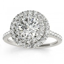 Diamond Double Halo Engagement Ring Setting 14k White Gold (0.33ct)