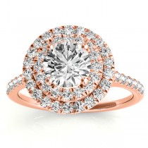 Diamond Double Halo Engagement Ring Setting 18k Rose Gold (0.33ct)
