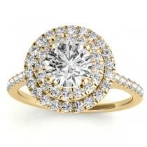 Diamond Double Halo Engagement Ring Setting 18k Yellow Gold (0.33ct)