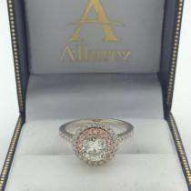 Double Halo Round Diamond Engagement Ring 14k Two Tone Gold (1.38ct)