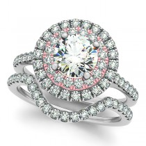 Double Halo Diamond Ring & Band Bridal Set 14k Two Tone Gold 1.55ct