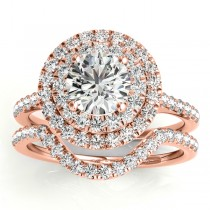 Diamond Double Halo Bridal Set Setting 14k Rose Gold (0.50ct)