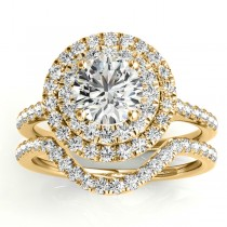 Diamond Double Halo Bridal Set Setting 14k Yellow Gold (0.50ct)