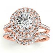 Diamond Double Halo Bridal Set Setting 18k Rose Gold (0.50ct)