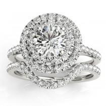 Diamond Double Halo Bridal Set Setting Platinum (0.50ct)
