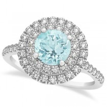 Double Halo Round Aquamarine Engagement Ring 14k White Gold 1.42ct