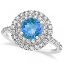 Double Halo Round Blue Topaz Engagement Ring 14k White Gold (1.42ct)