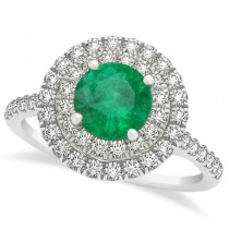 Double Halo Round Emerald Engagement Ring 14k White Gold (1.42ct)