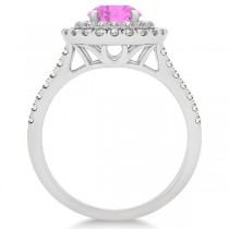Double Halo Round Pink Sapphire Engagement Ring 14k White Gold 1.42ct