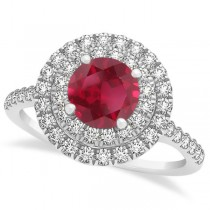 Double Halo Round Ruby Engagement Ring 14k White Gold (1.42ct)