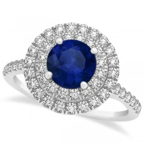 Double Halo Blue Sapphire Ring & Band Bridal Set 14k White Gold 1.59ct