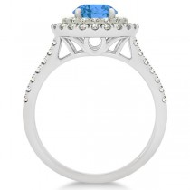 Double Halo Round Blue Topaz Ring & Band Bridal Set 14k White Gold 1.59ct