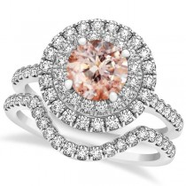 Double Halo Morganite Ring & Band Bridal Set 14k White Gold 1.59ct