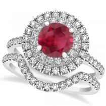 Double Halo Round Ruby Ring & Band Bridal Set 14k White Gold 1.59ct