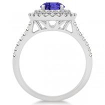 Double Halo Tanzanite Ring & Band Bridal Set 14k White Gold  1.59ct