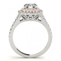 Square Double Halo Diamond Engagement Ring 18k Two-tone Gold (0.62ct)