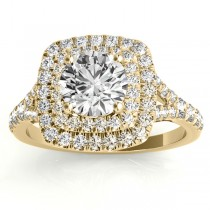 Square Double Halo Diamond Engagement Ring 18k Yellow Gold (0.62ct)