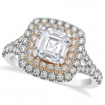 Square Halo Asscher Diamond Engagement Ring 14k Two-Tone Gold (1.12ct)