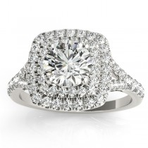 Square Double Halo Diamond Engagement Ring Palladium (0.62ct)