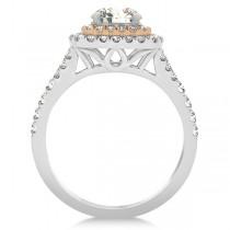 Double Halo Cushion Diamond Engagement Ring 14k Two-Tone Gold (2.00ct)