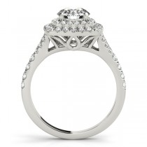 Square Double Halo Diamond Bridal Set Setting 14k White Gold (0.87ct)