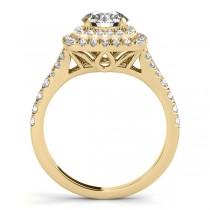 Square Double Halo Diamond Bridal  Set 14k Two-tone Yellow Gold (0.87ct)