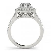 Square Double Halo Diamond Bridal Set Setting 18k White Gold (0.87ct)
