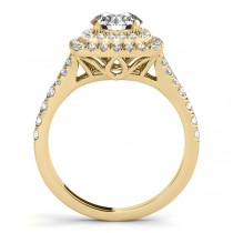 Square Double Halo Diamond Bridal  Set 18k Yellow Gold (0.87ct)