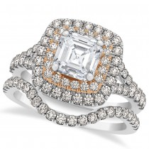 Square Halo Asschcer Diamond Bridal  Set in 14k Two-Tone Gold (1.37ct)
