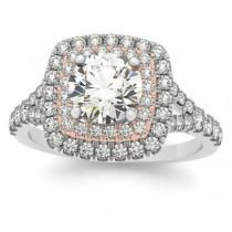 Square Double Halo Diamond Bridal  Set 14k Two-tone Gold (0.87ct)