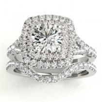 Square Double Halo Diamond Bridal  Set Platinum (0.87ct)