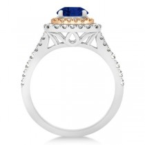 Square Double Halo Sapphire Engagement Ring 14k Two-Tone Gold 1.38ct