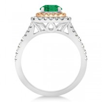 Square Double Halo Emerald Engagement Ring 14k Two-Tone Gold 1.38ct