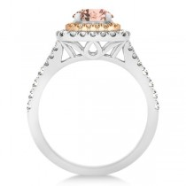 Square Double Halo Morganite Engagement Ring 14k Two-Tone Gold 1.38ct