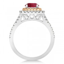 Square Double Halo Ruby Engagement Ring 14k Two-Tone Gold (1.38ct)