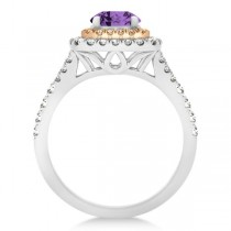 Square Double Halo Amethyst Ring Bridal Set 14k Two-Tone Gold 1.55ct