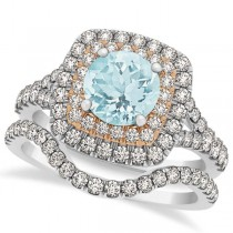 Square Double Halo Aquamarine Bridal Ring Set 14k Two-Tone Gold 1.55ct