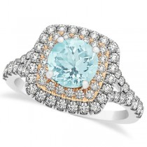 Square Double Halo Aquamarine Bridal Ring Set 14k Two-Tone Gold 1.55ct