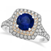 Square Double Halo Blue Sapphire Bridal Ring Set 14k Two-Tone Gold 1.55ct