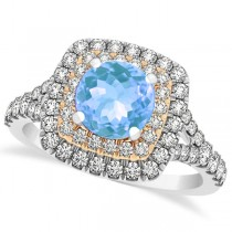 Square Double Halo Blue Topaz Ring & Band Bridal Set 14k Two-Tone Gold 1.55ct