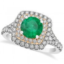 Square Double Halo Emerald Ring & Band Bridal Set 14k Two-Tone Gold 1.55ct