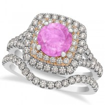 Square Double Halo Pink Sapphire Bridal Ring Set 14k Two-Tone Gold 1.55ct