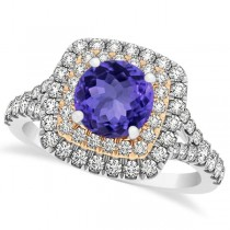 Square Double Halo Tanzanite Ring & Band Bridal Set Two-Tone Gold  (1.55ct)