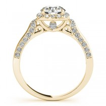 Diamond Accented Square Halo Ring & Band Bridal Set 14k Y. Gold 1.25ct