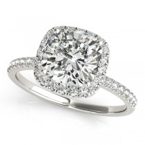 Cushion Diamond Halo Engagement Ring French Pave 18k W. Gold 0.70ct