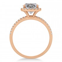 Cushion Salt & Pepper Diamond Halo Engagement Ring French Pave 14k R. Gold 0.70ct