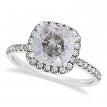 Cushion Salt & Pepper Diamond Halo Engagement Ring French Pave Palladium 0.70ct